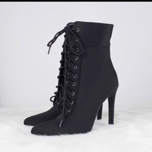 Sexy Pointed Lace Up Bootie